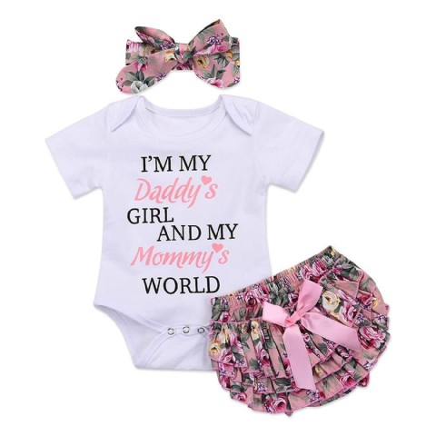 Daddy baby girl clothes Newborn Baby Girls Outfits Daddy's Girl White Short Sleeve Romper