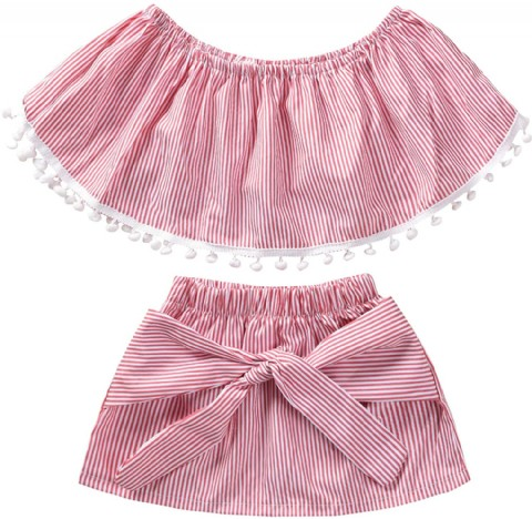 Dcohmch Toddler Girl Clothes, Baby Girls Cute Off Shoulder Top+Bowknot Skirt Little Girl Pink Stripe