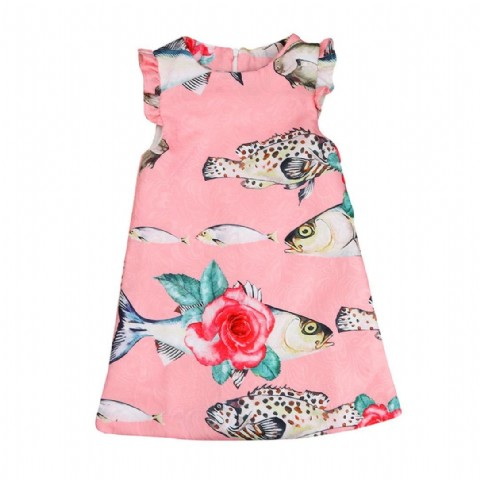 Girls Dress Summer Baby Girls Dress Small Fish Pattern Pring Design Sleeveless Girls Clothes
