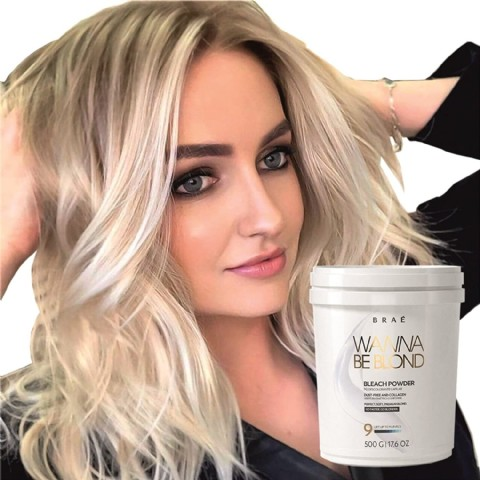 Hair Bleach Powder Professional Lightener 9+ Wanna Be Blonde 500g- Brae