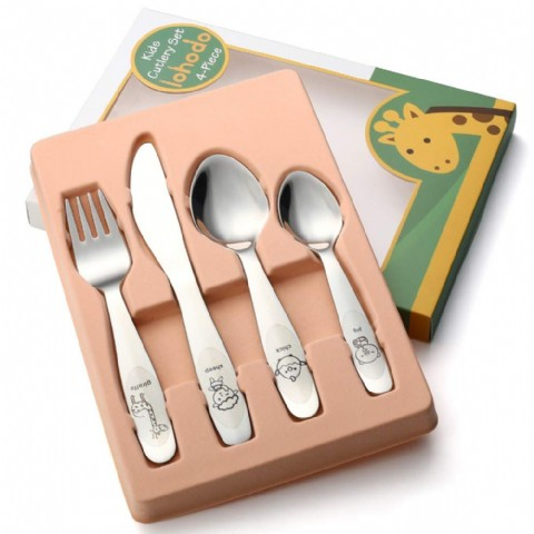 Kids Silverware Set Toddler Utensils 18/8 Stainless Steel 4PCS Fork Spoon and Knife Cutlery Child