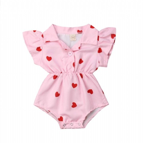 Lovely Summer Infant Newborn Baby Girl Clothing Leopard Heart Ruffles Baby Girls Rompers Valentine's